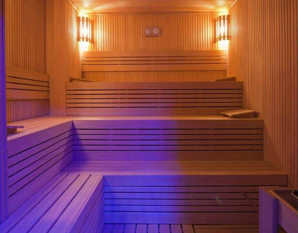 swimming pool leisure centre wooden sauna empty bathroom