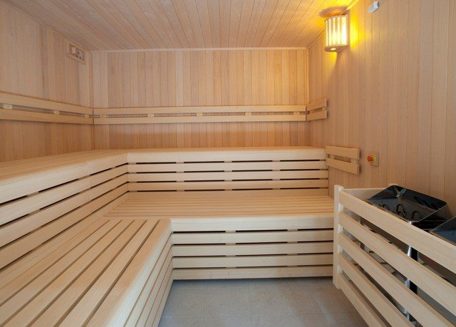 wooden bathroom sauna empty