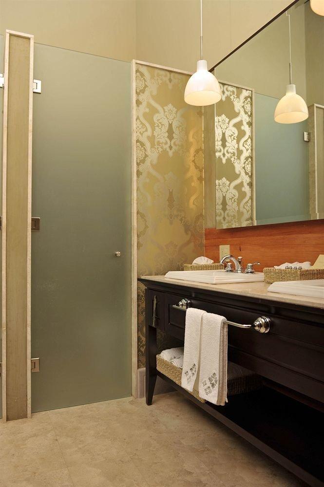 bathroom mirror sink home flooring towel plumbing fixture vanity