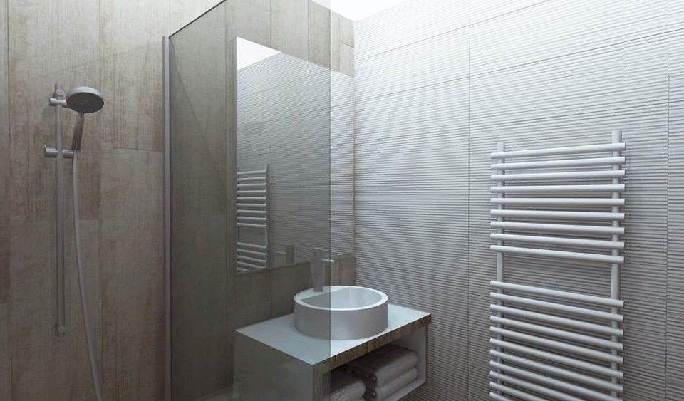 bathroom scene plumbing fixture shower white flooring tile
