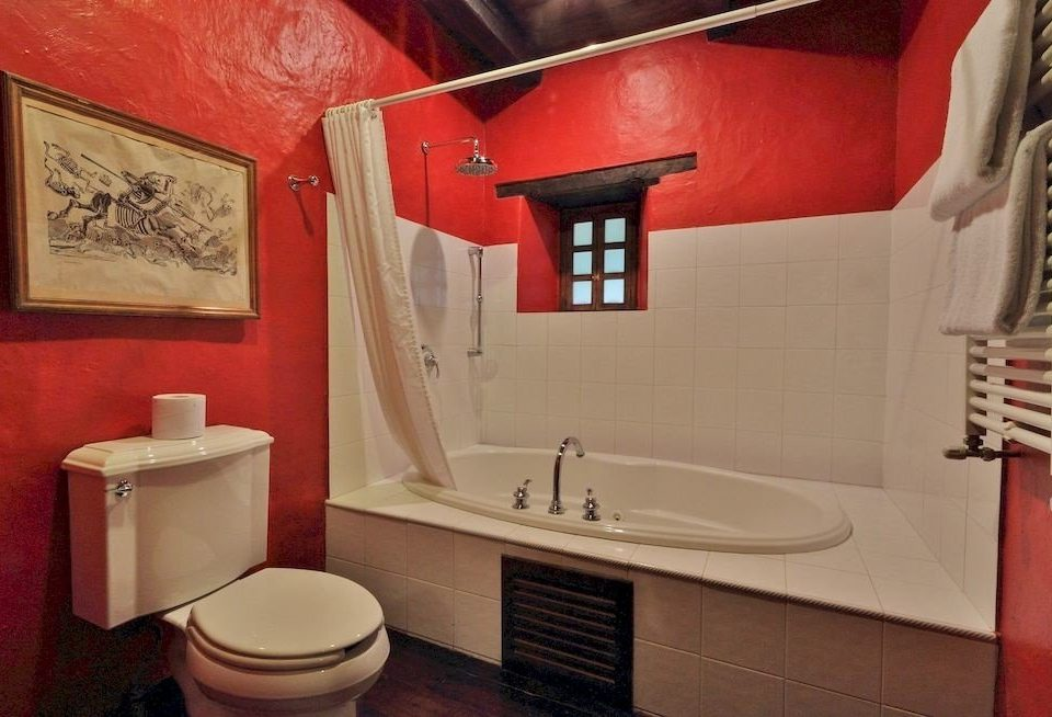 bathroom red toilet house home