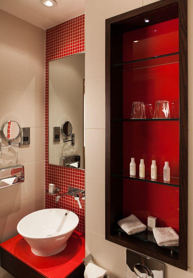 red bathroom sink home rack