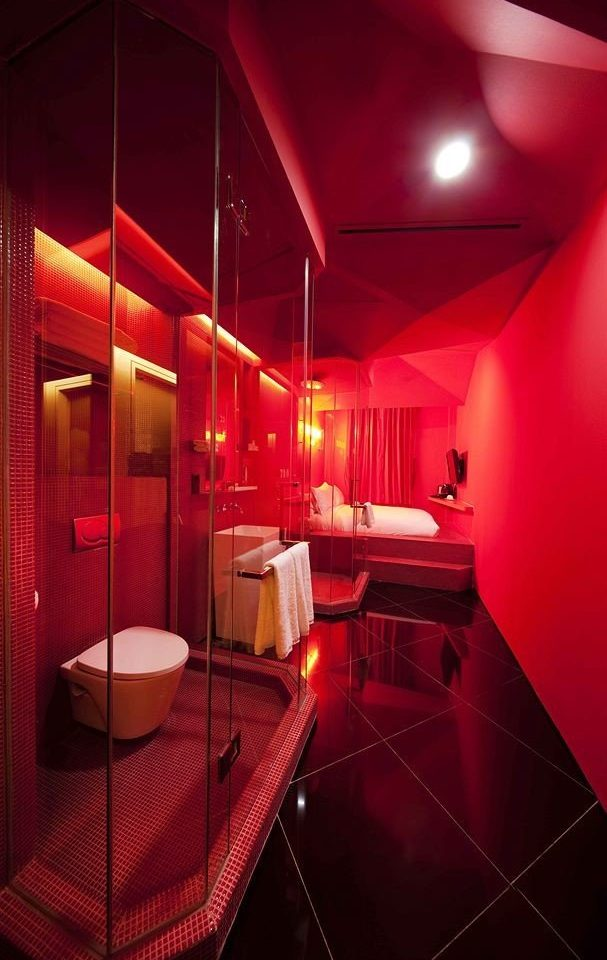 red lighting nightclub tiled light bathroom