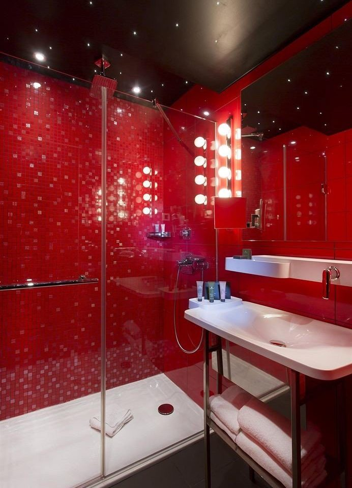 red bathroom lighting