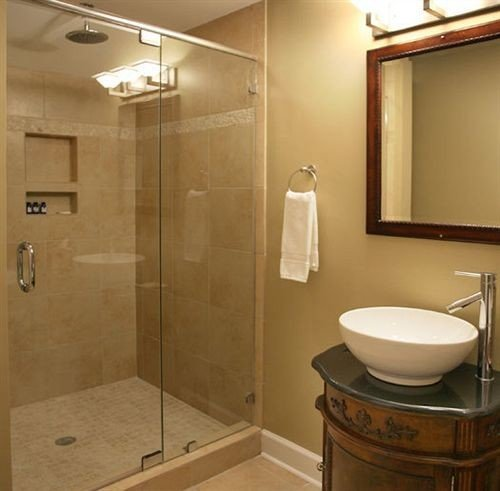 bathroom sink mirror property plumbing fixture