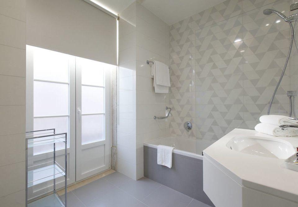 bathroom sink mirror property white tile tiled
