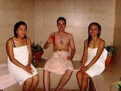 woman muscle posing bathroom