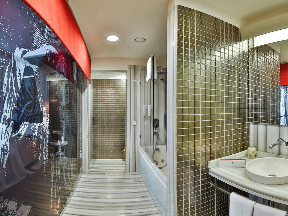 bathroom property shower tiled tile