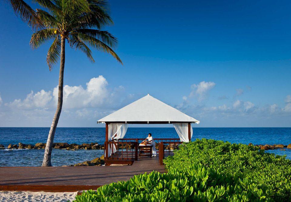 Beach Beachfront Boat Luxury Ocean Tropical sky water tree shore Sea caribbean palm Coast horizon Island arecales Resort tropics Nature Lagoon cape plant lined sandy