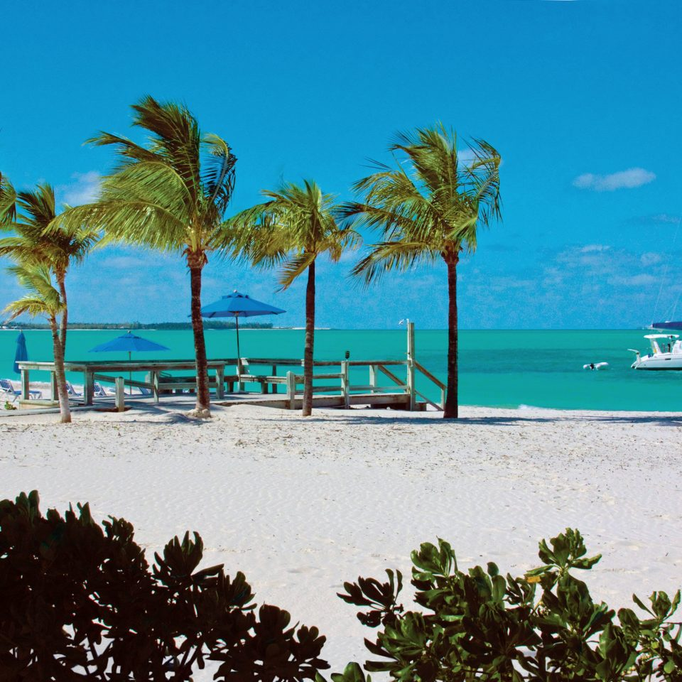 Beach Beachfront Boat Grounds Play Resort tree sky water shore palm Sea caribbean Ocean Coast tropics arecales Lagoon palm family Island cape cay sandy