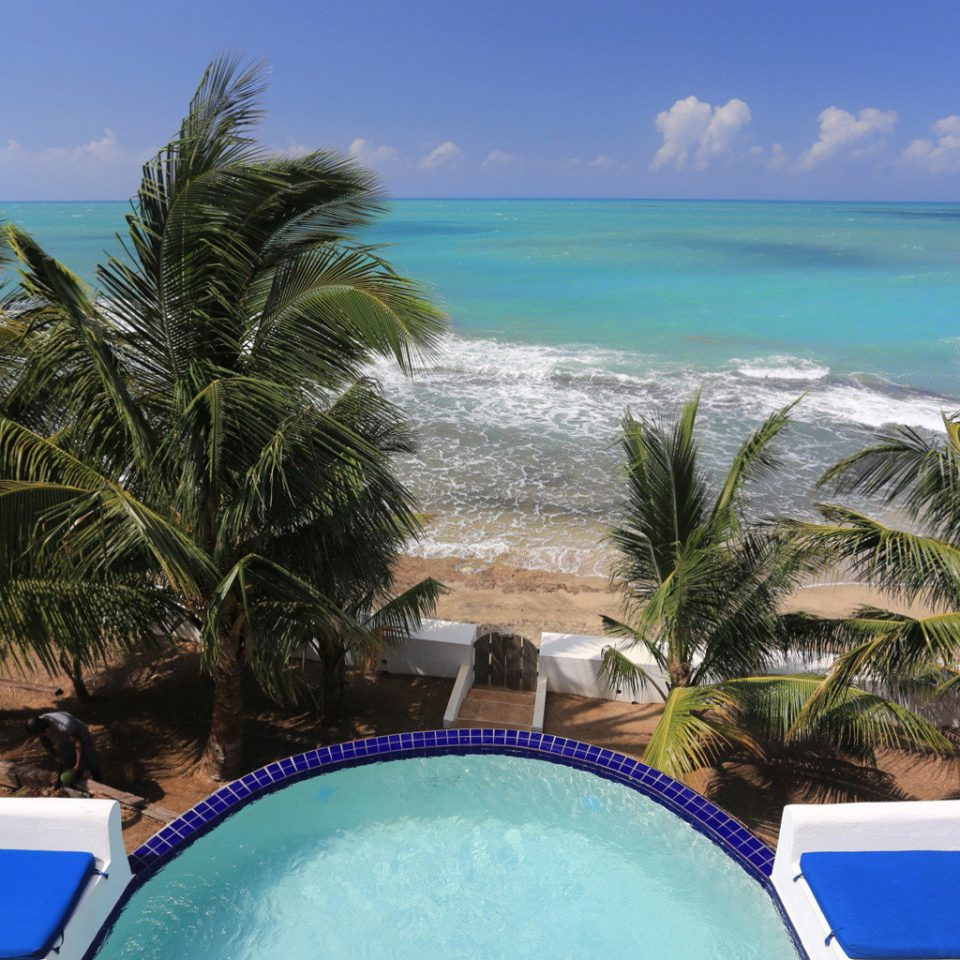 Beachfront Boutique Pool Romantic Rustic Tropical tree sky swimming pool leisure Beach caribbean property Resort Ocean Sea tropics arecales Lagoon blue Coast cape lawn Villa Island outdoor object