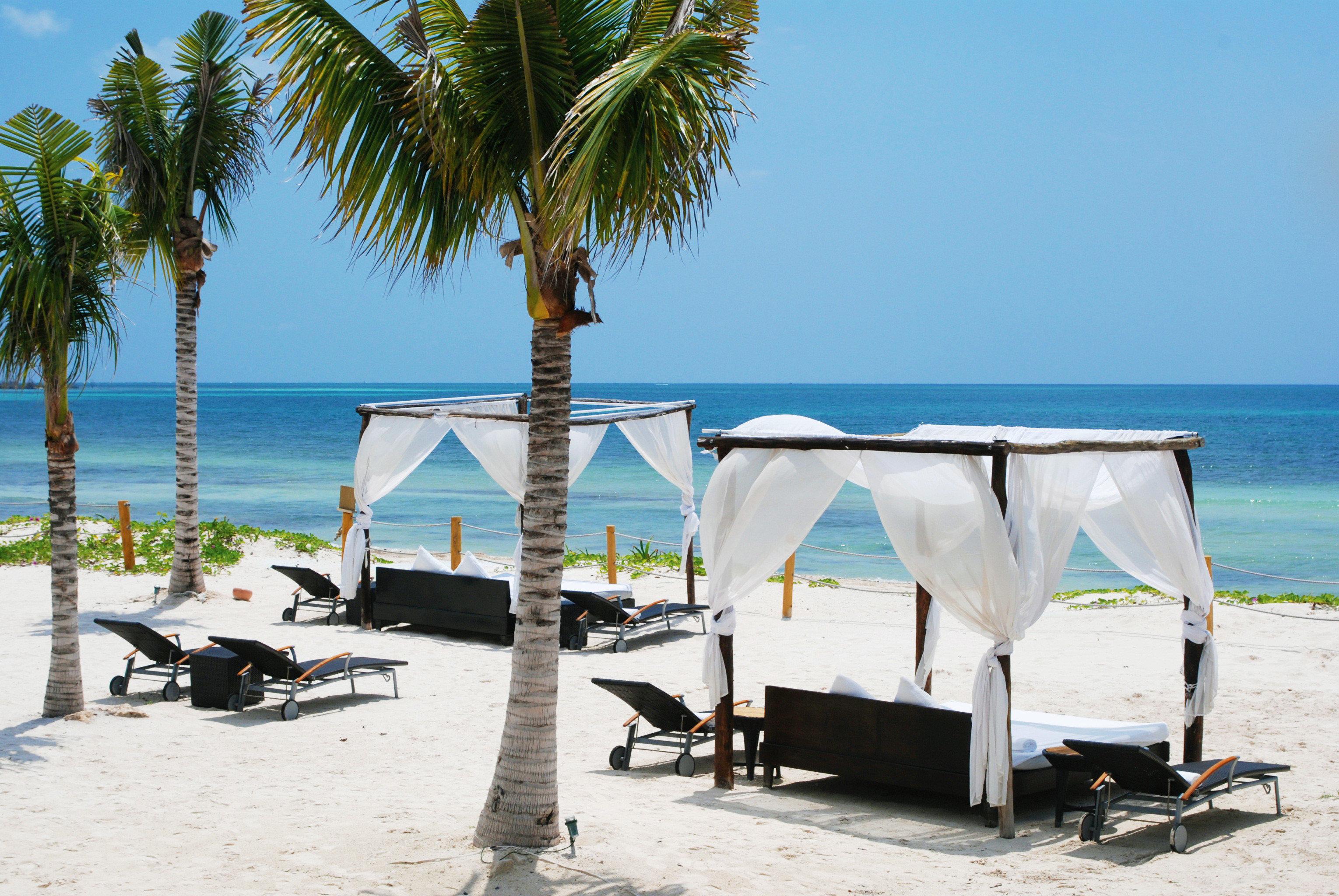 Beachfront Elegant Hip Lounge Luxury sky water Beach tree palm leisure Sea Ocean shore caribbean dock Coast sandy Resort marina plant day
