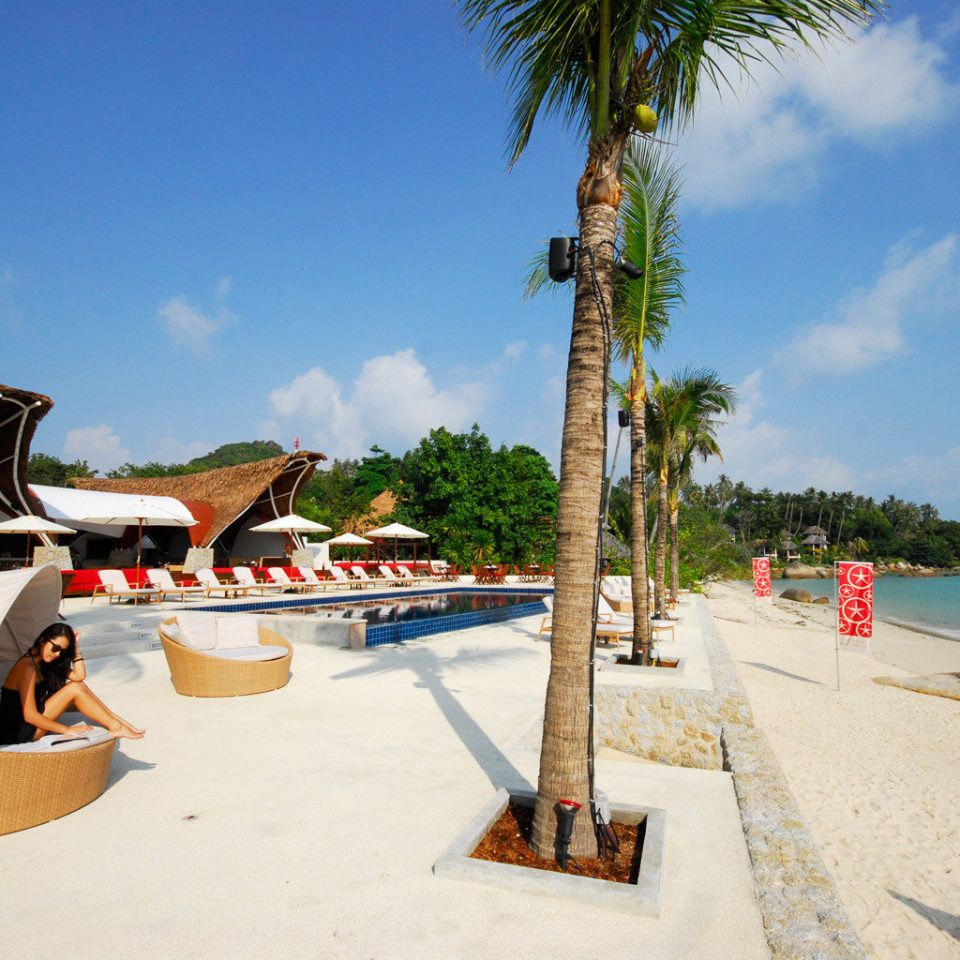 Beach Beachfront Hip Island Ocean Outdoor Activities Tropical sky leisure Sea Resort arecales caribbean Coast walkway boardwalk travel swimming pool tree shore plant