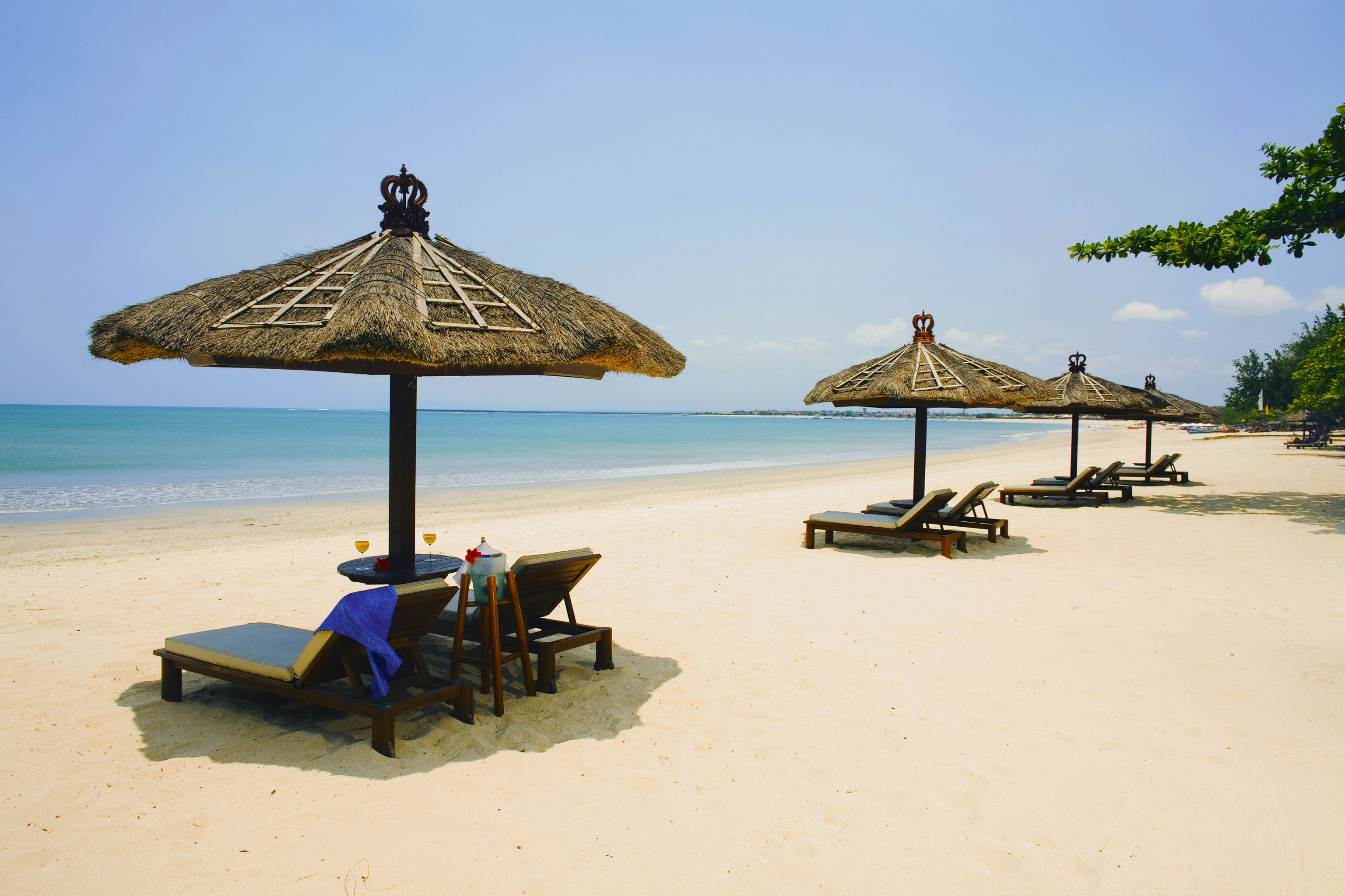 Beach Beachfront Luxury Romantic sky water umbrella chair Sea shore Ocean Coast sand Island cape travel caribbean shade sandy day