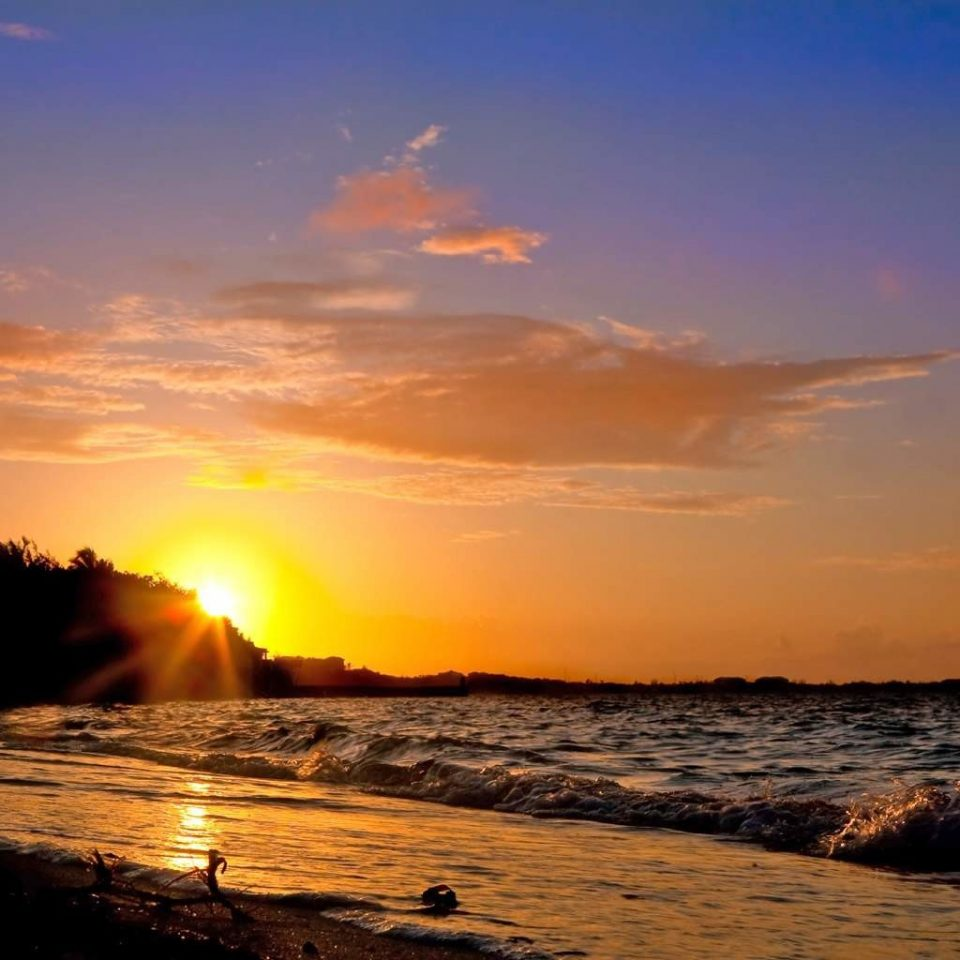 Beach Beachfront Ocean sky Sunset water Sun Nature afterglow Sea horizon sunrise Coast shore dawn dusk morning wave wind wave evening red sky at morning sunlight setting clouds distance