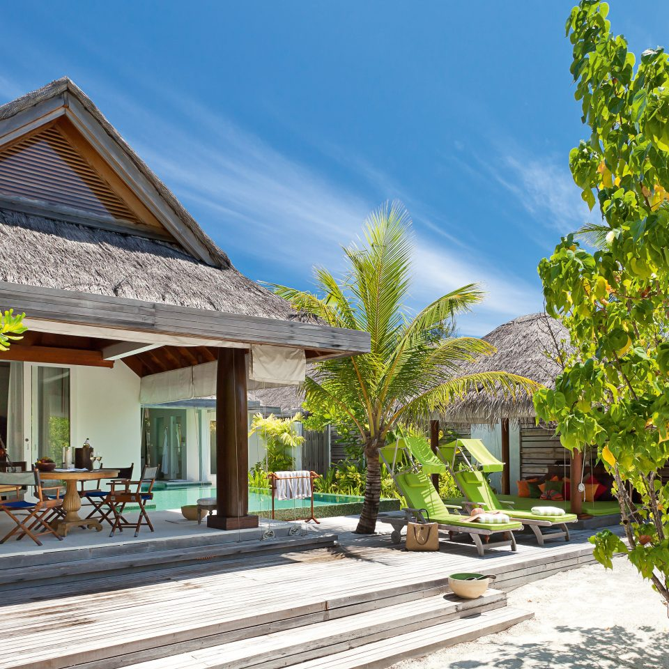 Beach Beachfront Elegant Lounge Luxury tree property Resort house residential area home yellow condominium Villa mansion Village Courtyard