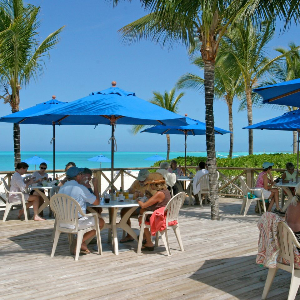 Beachfront Dining Drink Eat Grounds Resort tree sky umbrella chair ground leisure palm Beach caribbean walkway boardwalk Deck shade set shore