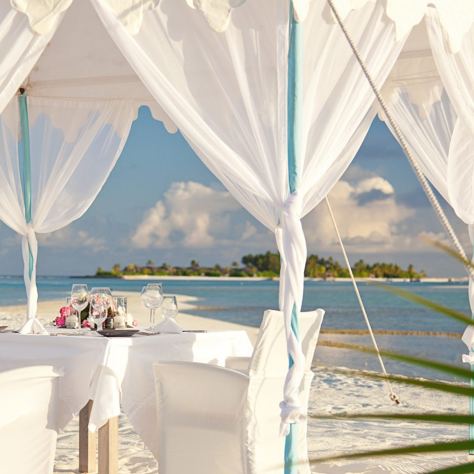 Beach Beachfront Elegant Lounge Luxury mosquito net wedding ceremony