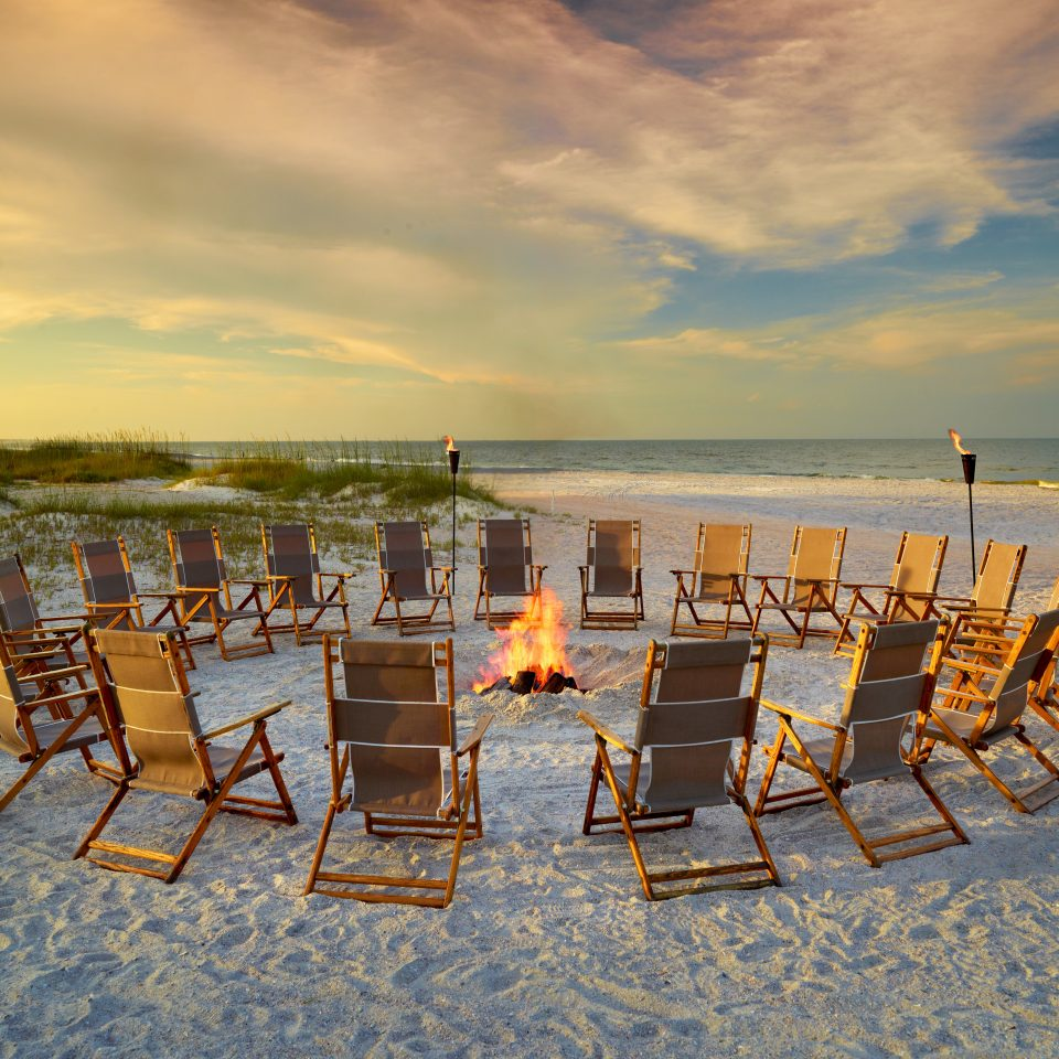 Beach Beachfront Firepit Ocean Trip Ideas sky chair water shore Sea Nature morning evening Sunset set line