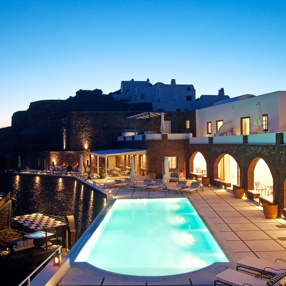 Beach Beachfront Greece Hotels Lounge Luxury Modern Ocean Pool Santorini sky evening dusk Sea swimming pool cityscape Resort