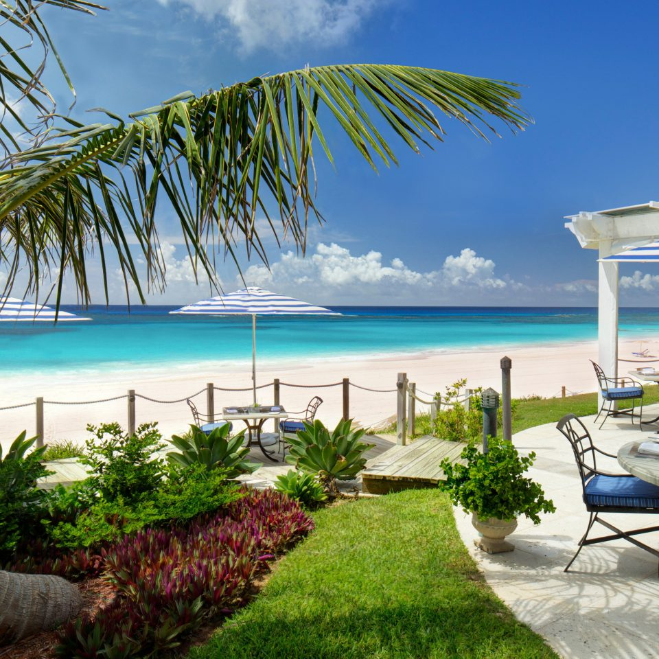Beach Beachfront Hotels Island Lounge Outdoors Trip Ideas Tropical Waterfront water tree sky palm umbrella chair Ocean property leisure caribbean swimming pool plant Pool lawn Resort arecales tropics Villa condominium Sea overlooking shore lined sandy shade
