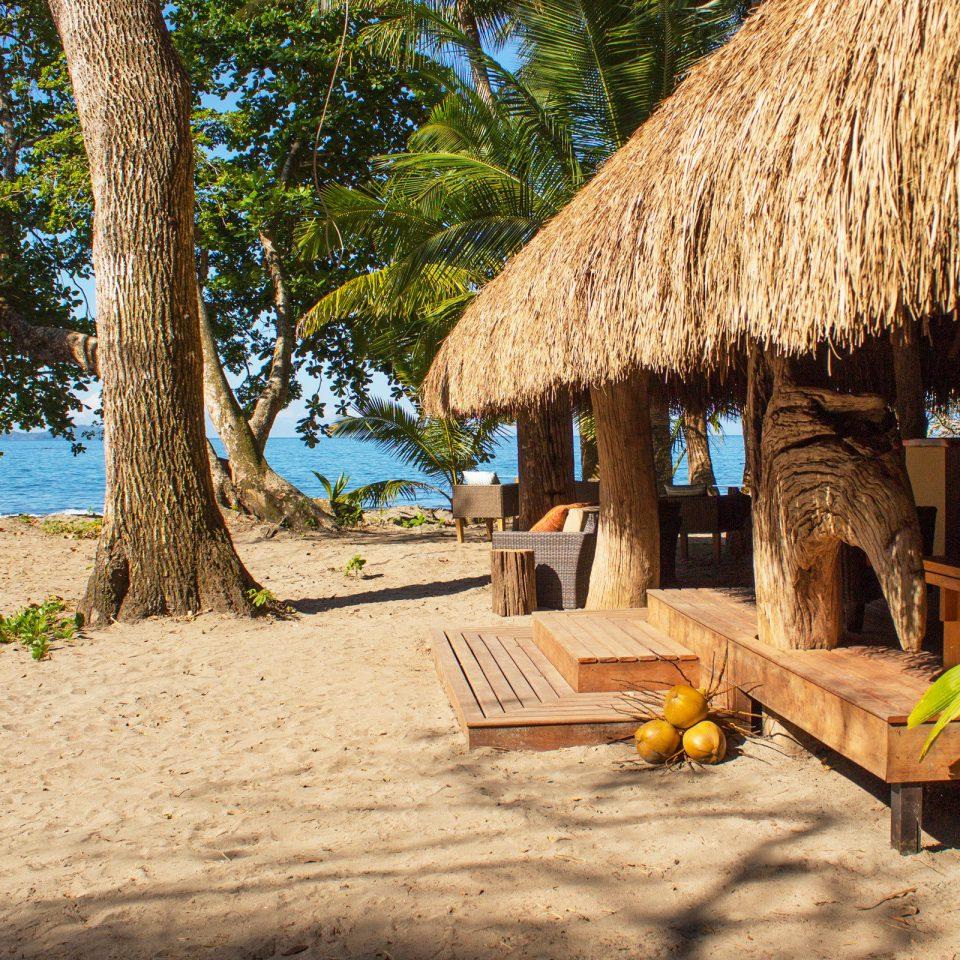 Beach Beachfront Island Outdoor Activities Outdoors tree ground Resort roof hut Village tropics shade sandy