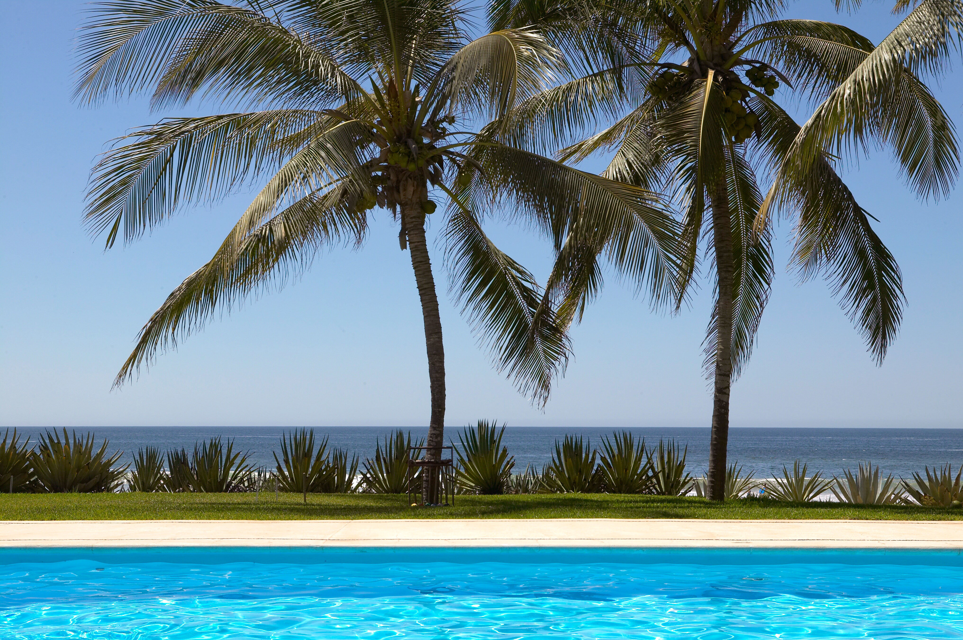 Beachfront Luxury Pool Scenic views tree palm sky Beach water plant swimming pool palm family caribbean arecales Ocean Sea woody plant Resort Lagoon tropics lined sandy swimming shade