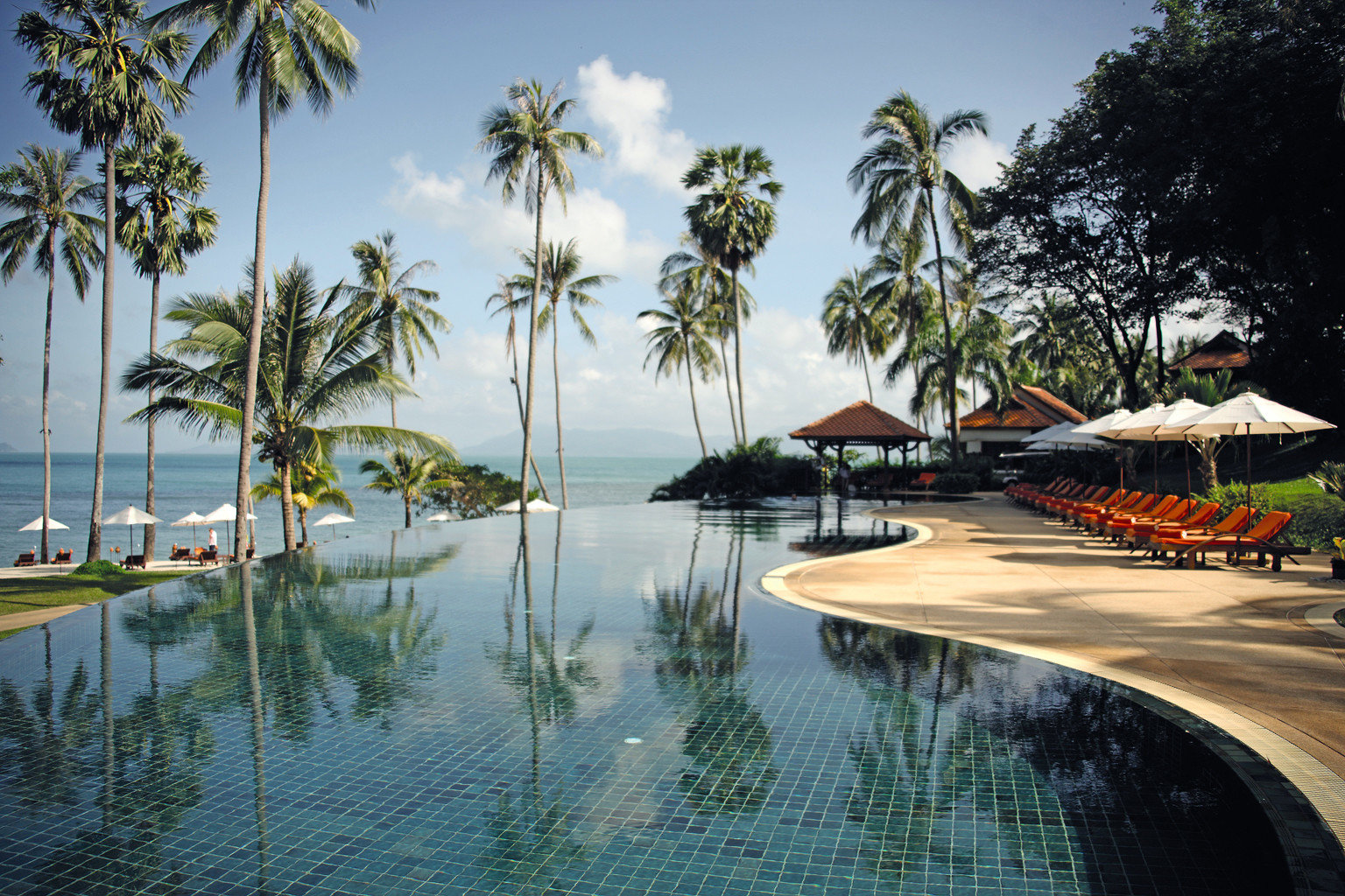 Beach Beachfront Ocean Pool tree water palm sky leisure swimming pool Resort arecales tropics Sea palm family Lagoon plant shore lined surrounded