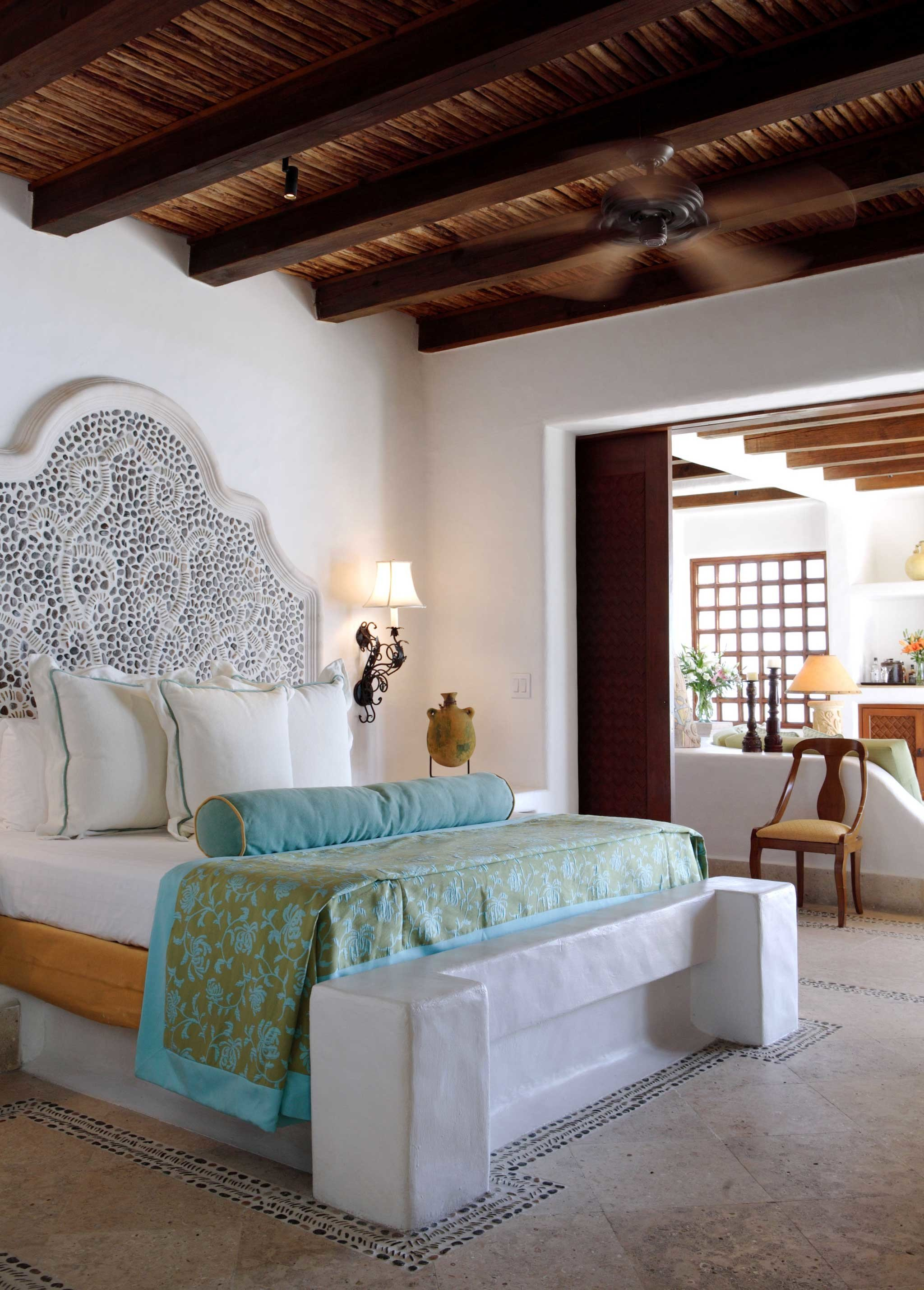 Beach Bedroom Elegant Hip Honeymoon Hotels Luxury Mexico Modern Romance Scenic views Suite Tulum sofa living room property home hardwood farmhouse cottage containing