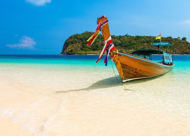 water sky Boat Beach Sea long tail boat shore caribbean watercraft rowing vehicle Ocean Coast sand Island colored
