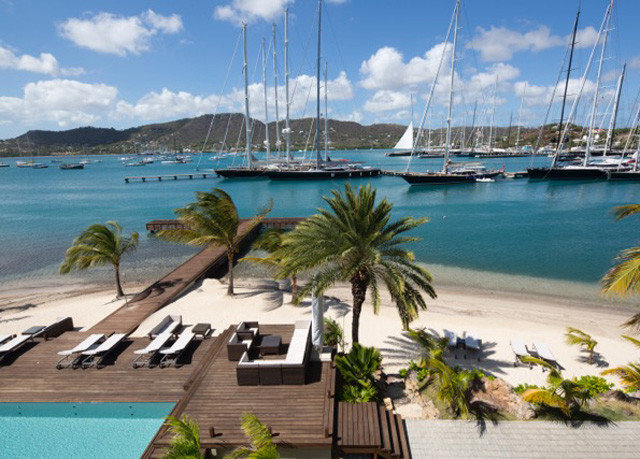 water sky Boat marina leisure caribbean dock Resort Beach Lagoon Coast Sea cove sandy