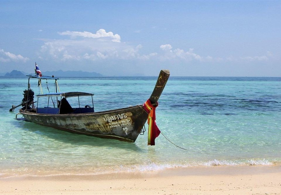 water sky Boat Sea shore Beach long tail boat vehicle Ocean Coast fishing vessel sand wave