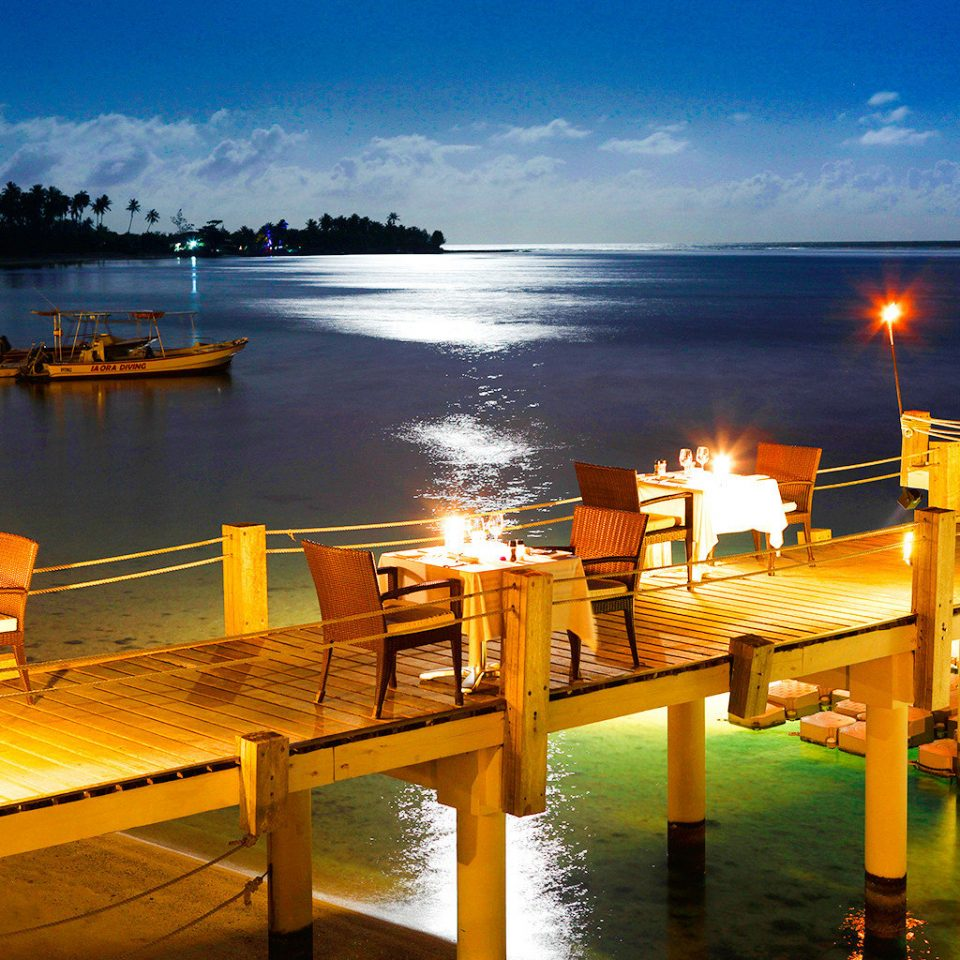 Boat Dining Drink Eat Luxury Overwater Bungalow Resort Scenic views sky water dock Sea marina Ocean evening scene morning dusk Sunset docked Beach pier sunlight Lake Harbor