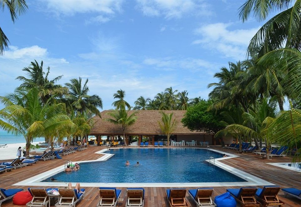 tree sky palm Beach Pool Resort swimming pool chair leisure property lined lawn resort town caribbean Villa condominium swimming sandy Boat