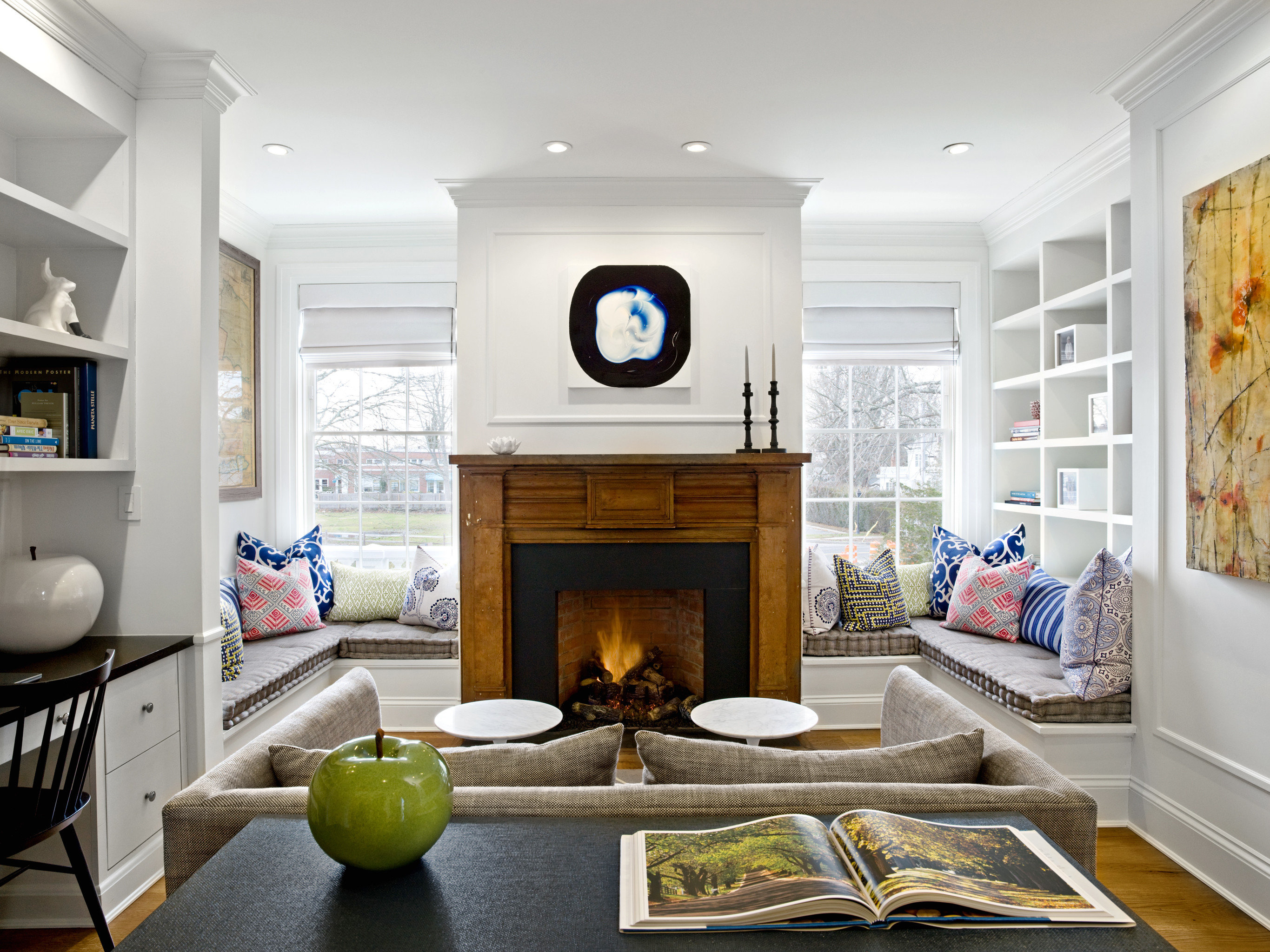 Beach Boutique Fireplace Lounge Luxury Modern South Fork The Hamptons living room home property hardwood cottage Kitchen