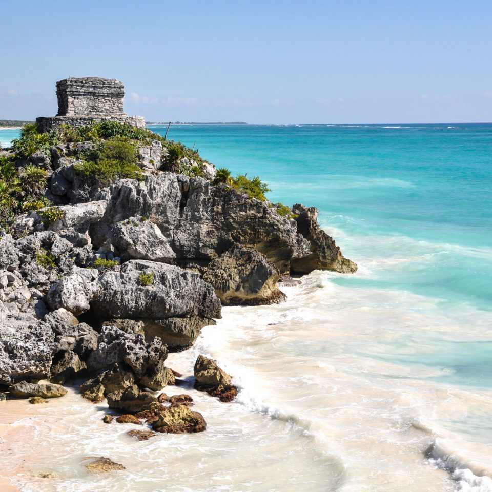 City Mexico Trip Ideas Tulum water sky rock Nature shore Coast Sea Ocean rocky Beach cove islet wind wave cape cliff terrain wave material