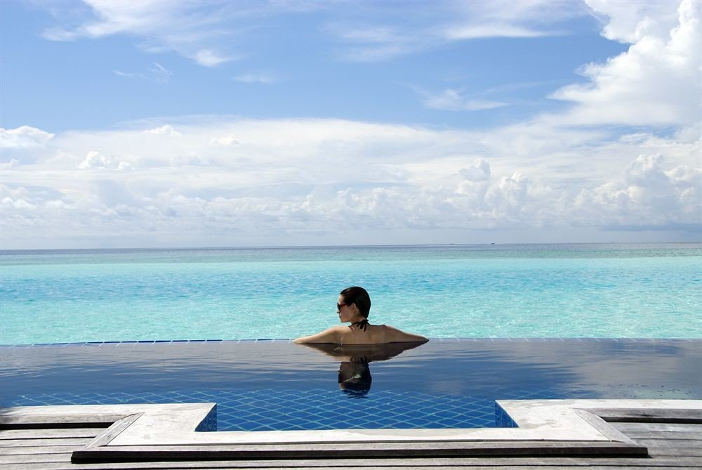 water sky Sea Ocean blue shore Beach horizon Nature Coast swimming pool caribbean wave overlooking Deck Island day