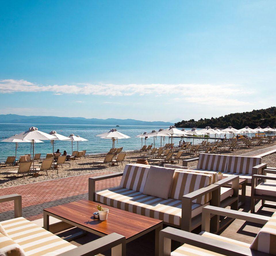 sky chair building wooden Resort Sea Deck Beach Ocean dock marina Coast lawn walkway overlooking seat set lined