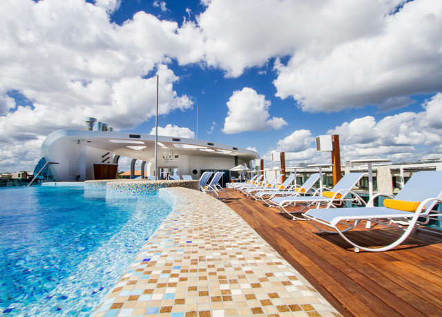 sky leisure Sea Ocean vehicle dock caribbean marina Resort Beach swimming pool Coast blue Deck day