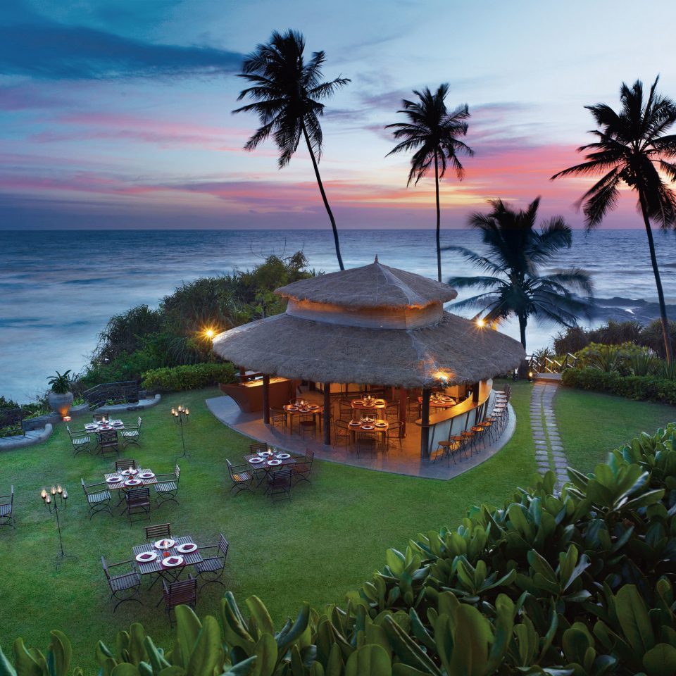 Dining Drink Eat Resort Scenic views Sunset tree water grass plant Sea Beach Ocean Coast shore caribbean arecales tropics Nature Lake palm Island overlooking beautiful