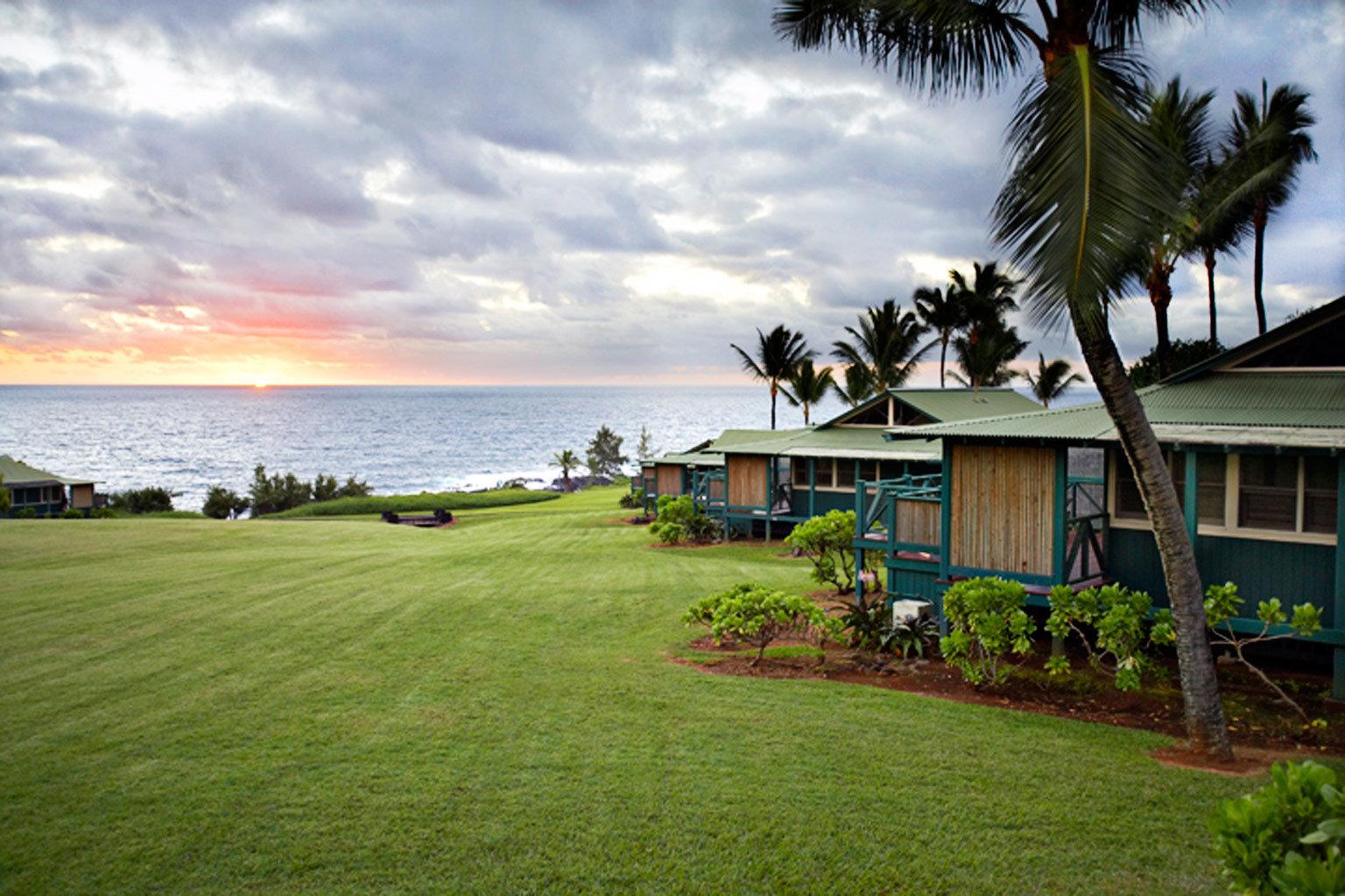 Exterior Grounds Rustic Sunset Waterfront grass sky plant tree Beach Ocean green arecales Resort Coast Sea caribbean tropics palm lush