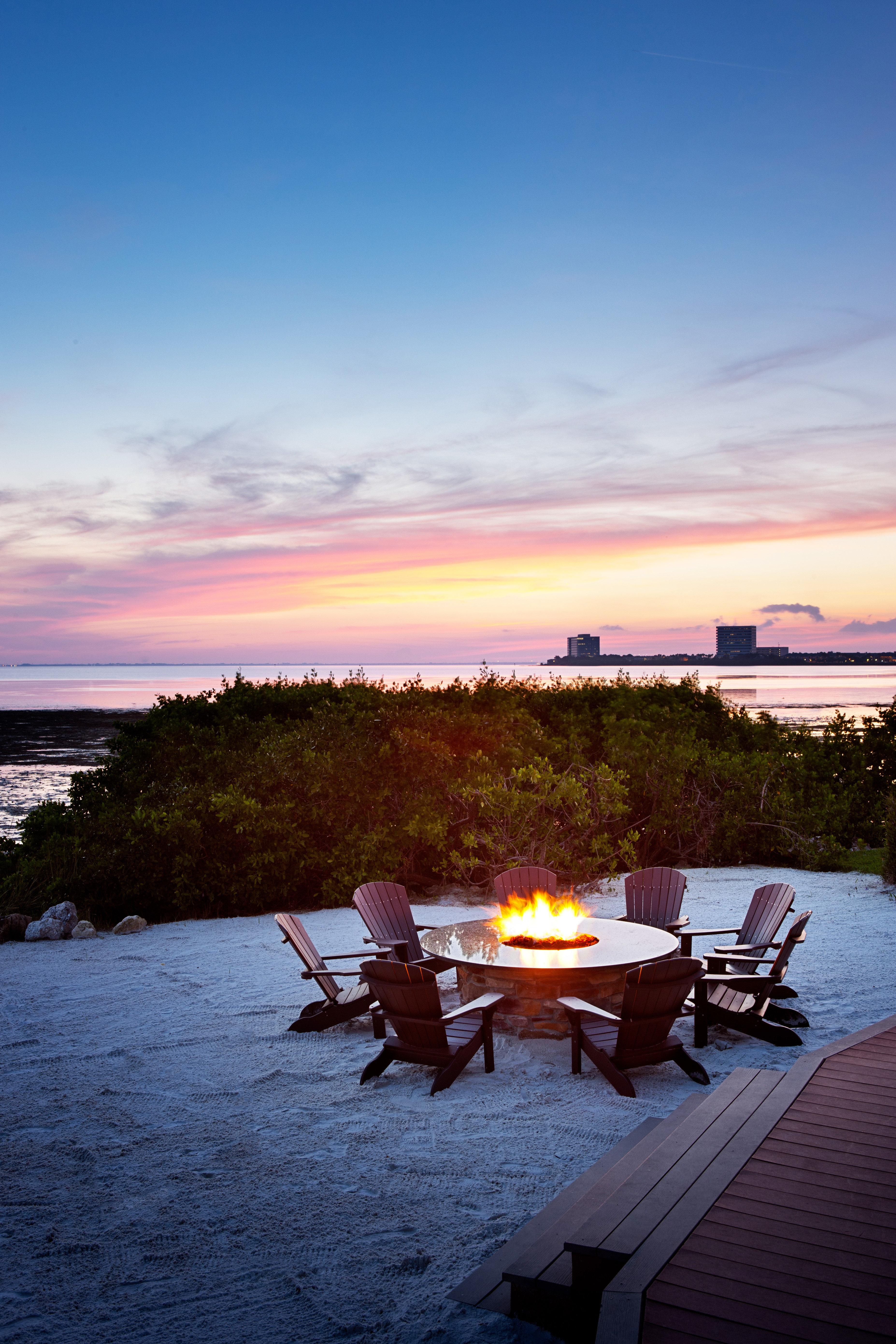 Beach Firepit Lounge Luxury Sunset sky water horizon sunrise Sea dawn Ocean morning shore dusk evening cloud sunlight Coast Nature