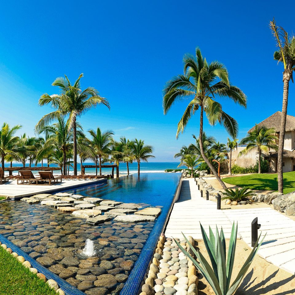 Grounds Pool Scenic views tree sky palm Beach umbrella lawn leisure swimming pool Resort caribbean Sea arecales Ocean walkway Coast marina Garden lined Lagoon palm family tropics shade sandy