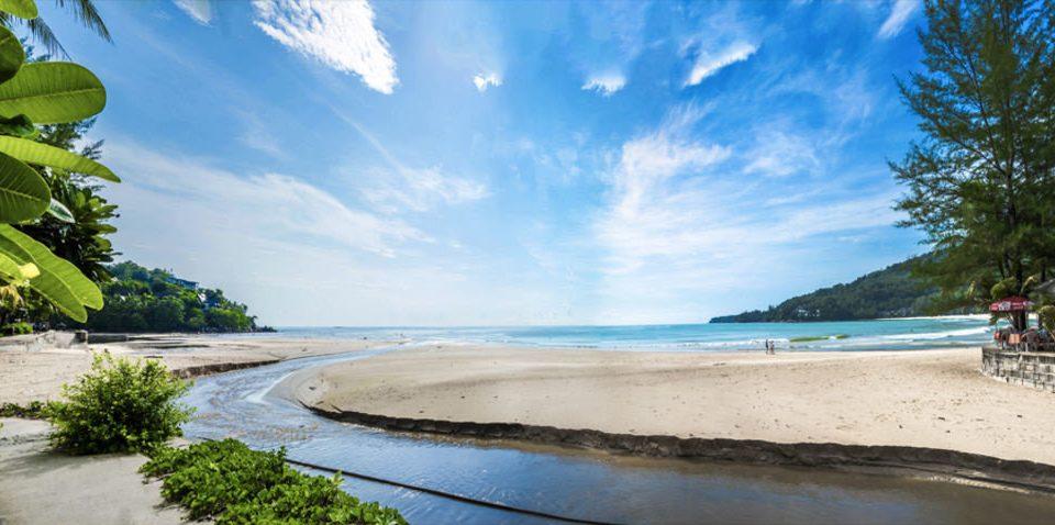 sky water tree Beach shore Nature Sea Coast Ocean tropics Lagoon sandy Island