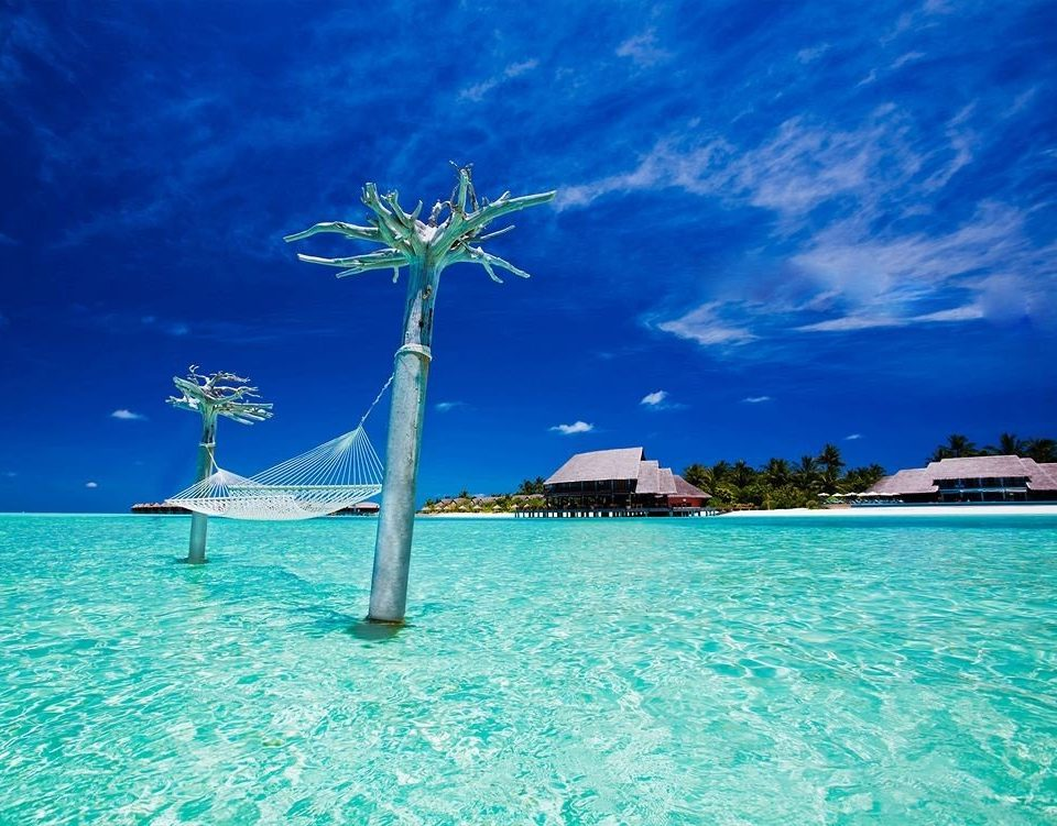 water sky umbrella chair blue Sea caribbean Ocean swimming pool Beach arecales Pool Lagoon Island atoll swimming tropics Coast wind day