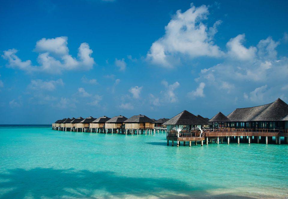 water sky blue Sea caribbean Beach Ocean scene horizon Island Lagoon Resort Coast swimming tropics Pool islet day