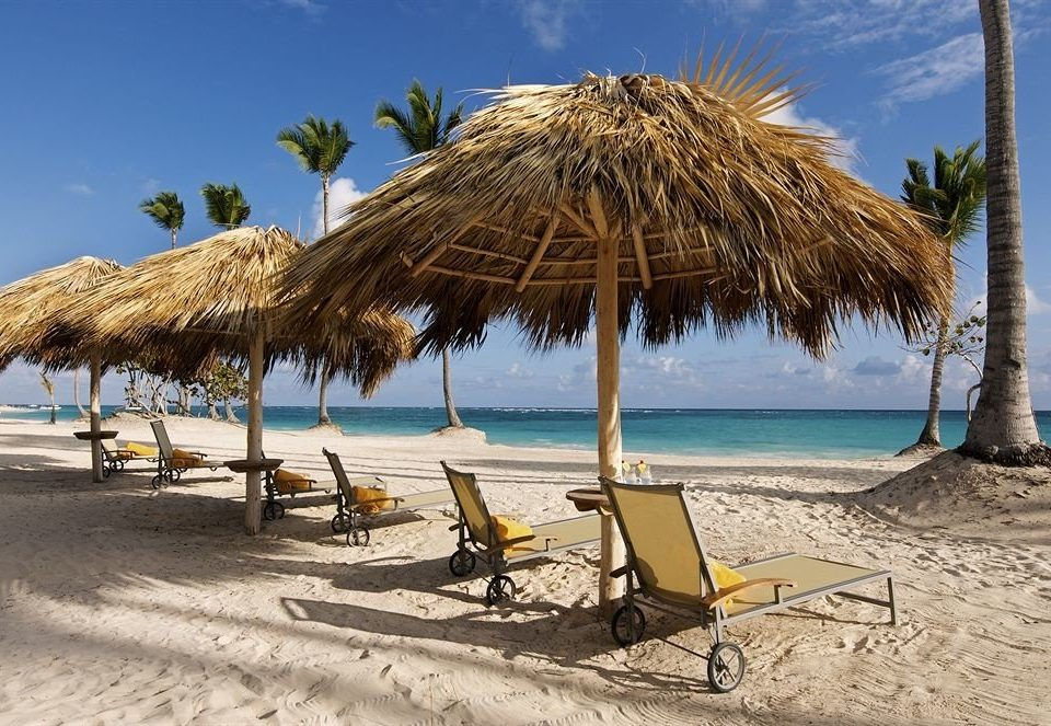 sky Beach umbrella chair ground water shore palm Sea lawn Ocean Nature Coast arecales sandy sand caribbean lined Island hut Lagoon cape palm family tropics empty shade line day