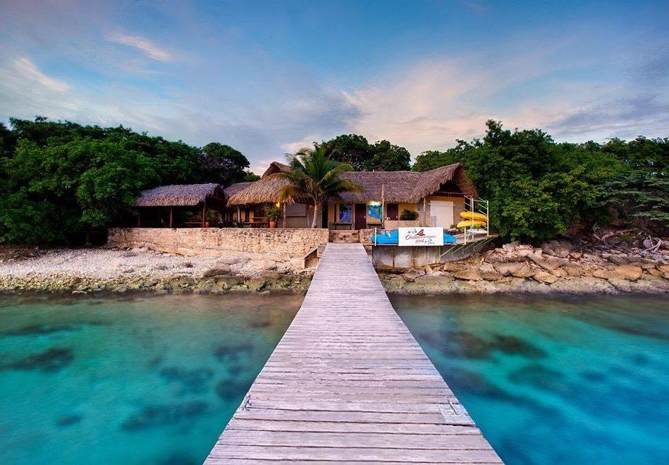 water tree house Sea swimming pool Beach shore Coast Nature Ocean Lagoon Resort Pool Island cove caribbean tropics Village surrounded