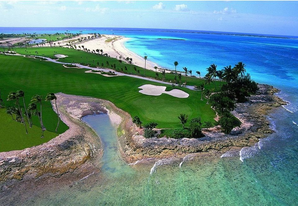water grass Nature Coast shore Ocean structure Sea reef aerial photography Beach sport venue cape archipelago islet cove Island Lagoon terrain estuary golf course lush hillside