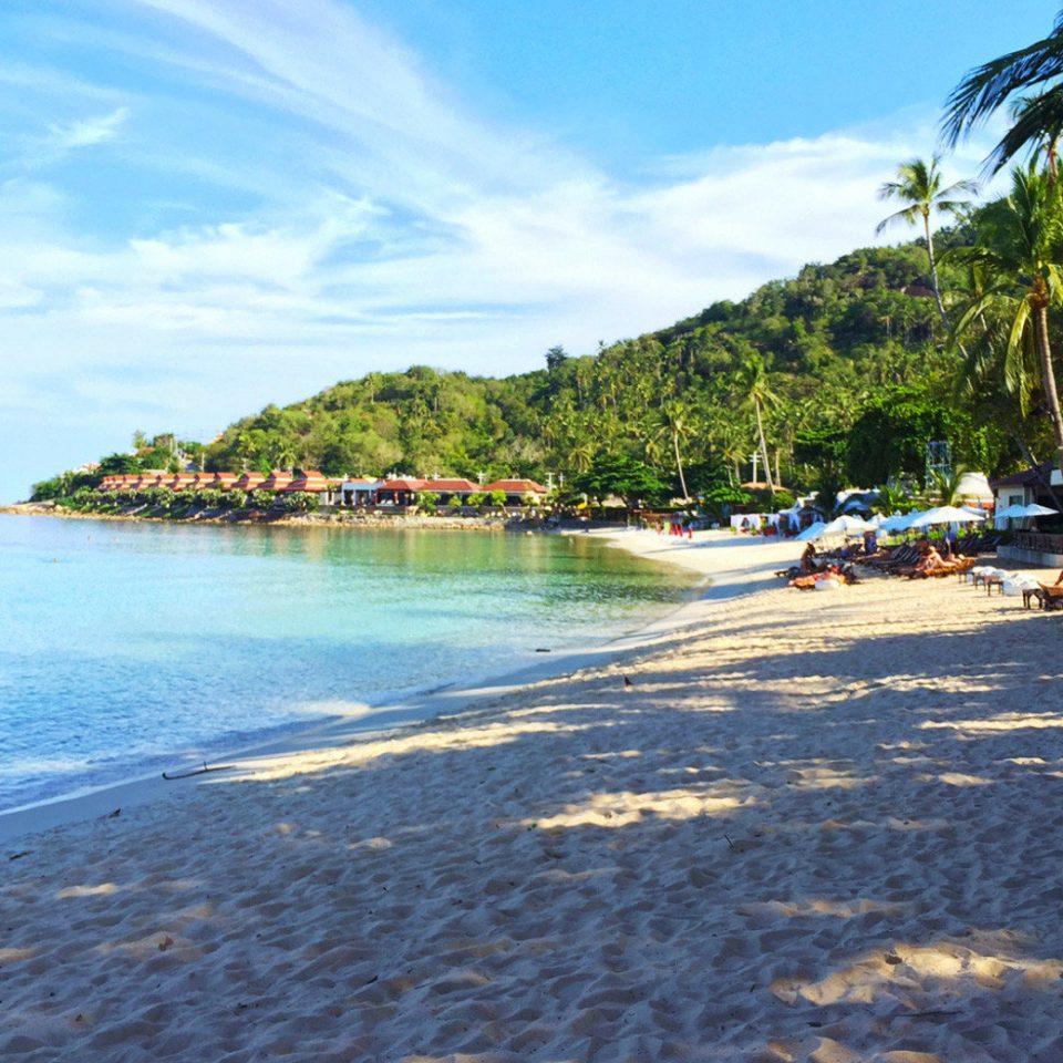 sky water tree Beach Sea shore Coast Nature Ocean cove Island day sandy
